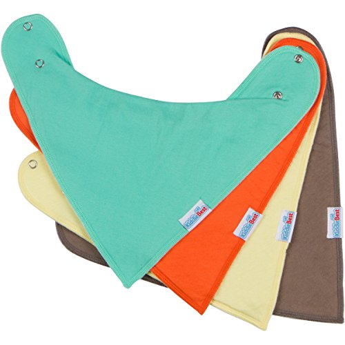 Baby Bandana Drool Bibs with Snaps, Solid Colors Unisex 4 Pack Gift Set by KiddieBest
