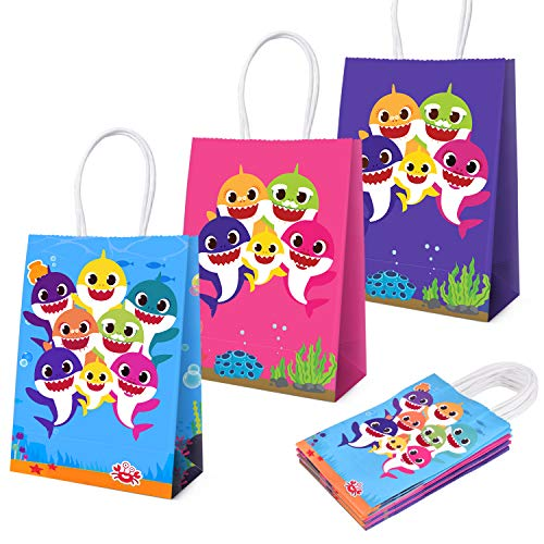 Cute Shark Party Bags For Baby Birthday Favor Kids Candy Gifts Paper Bag, Well for Girls or Boys-24pack