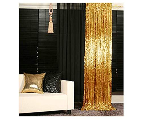 ShinyBeauty Sparkle Backdrop Curtain Gold 2 Panels Set Sequin Photo Backdrop 2FTx8FT Sequin Backdrop Curtain Pack of 2-1220S (Gold Curtains 2 Panels)
