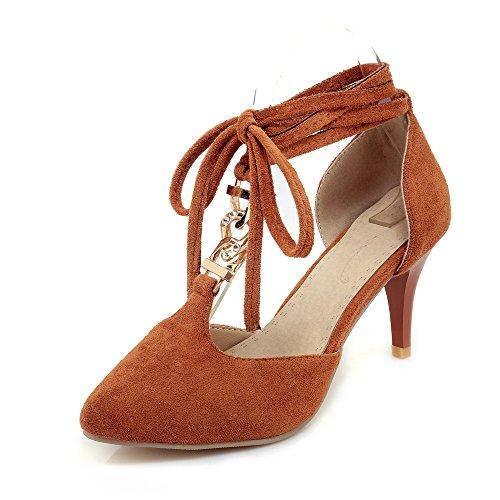 VIVIOO Tacón Alto Zapatos De Las Mujeres De Las Bombas Zapatos De La Boda del Partido De La Punta del Pie Puntiagudo Zapatos Simples Zapatos De Tacón Alto brown