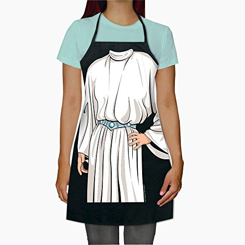 ICUP Star Wars - Princess Leia in White Gown From Episode 4 Character Adult Size 100% Cotton Adjustable Black Apron