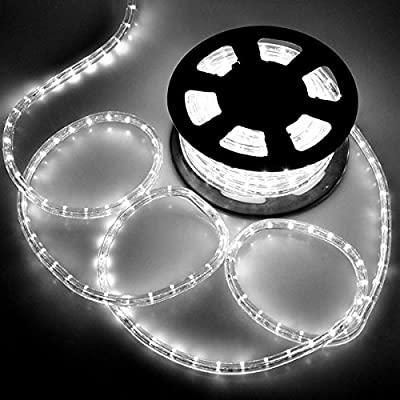 DELight Outdoor Lighting LED Rope Light 50ft White w/ Connector