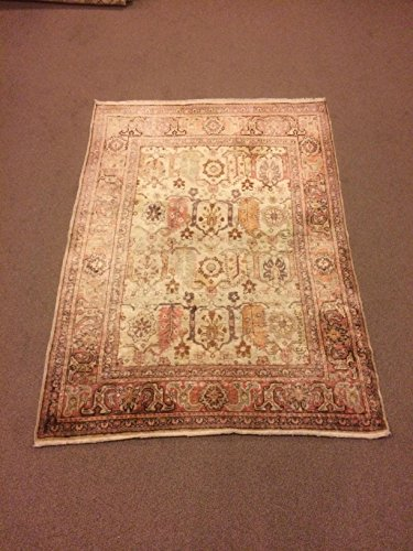 4x5.6 Feet Soft Faded Beige Rug Silk On Cotton Rug Pale Rug Shiny Rug Shiny Carpet Handmade Carpet Handmade Rug Code:F662