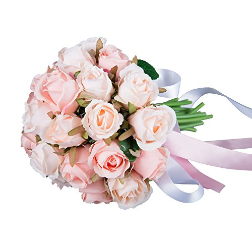 Feyarl® 2-Dozen Rose Bridal Wedding Bouquets Artificial Flower W/ Silk Ribbon Decoration - Vase not Included (Pink & Champagne)