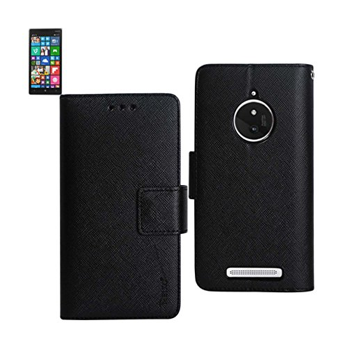 Reiko Premium Wallet Case with Stand, Flip Cover and 3 Card Holder for Nokia Lumia 830 - Retail Packaging - Black