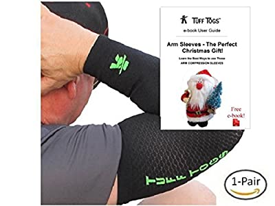 Arm compression sleeve Best base layer supports, protects, relieve mild pain & make forearm, elbow, bicep feel better & warmer. Men & women wear brace to boost circulation (basketball shooter sleeve)
