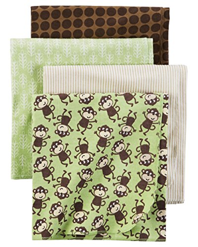 - Carter's Baby 4-Pack Flannel Receiving Blankets, Monkey Print, One Size