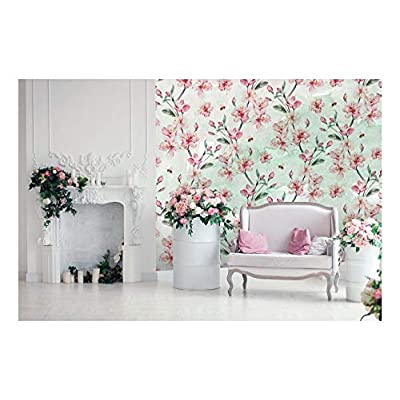 Large Wall Mural - Blooming Pink Cherry Flowers on Abstract Background | Self-Adhesive Vinyl Wallpaper/Removable Modern Wall Decor - 100x144 inches