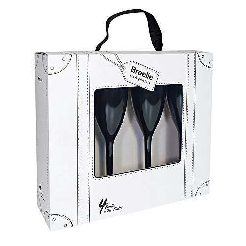Champagne Flutes by Breelie | BPA Free, Shatter Resistant, Colorful, durable + Perfect for outdoor + Set of 4 Acrylic champagne flutes in designer tote + Available in 10 colors. (Little Black Dress)