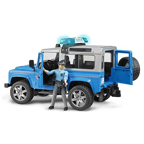 (Bruder Toys Land Rover Police vehicle w light skin policeman)