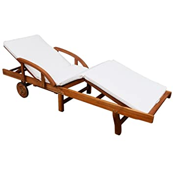 Festnight Patio Chaise Lounge Chair With 2 Wheels, Sun Lounger With Cushion  , Solid Acacia