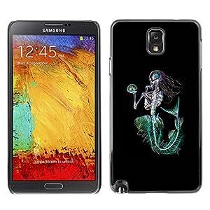 Paccase / SLIM PC / Aliminium Casa Carcasa Funda Case Cover - Mermaid Death Skeleton Black Green - Samsung Note 3 N9000 N9002 N9005