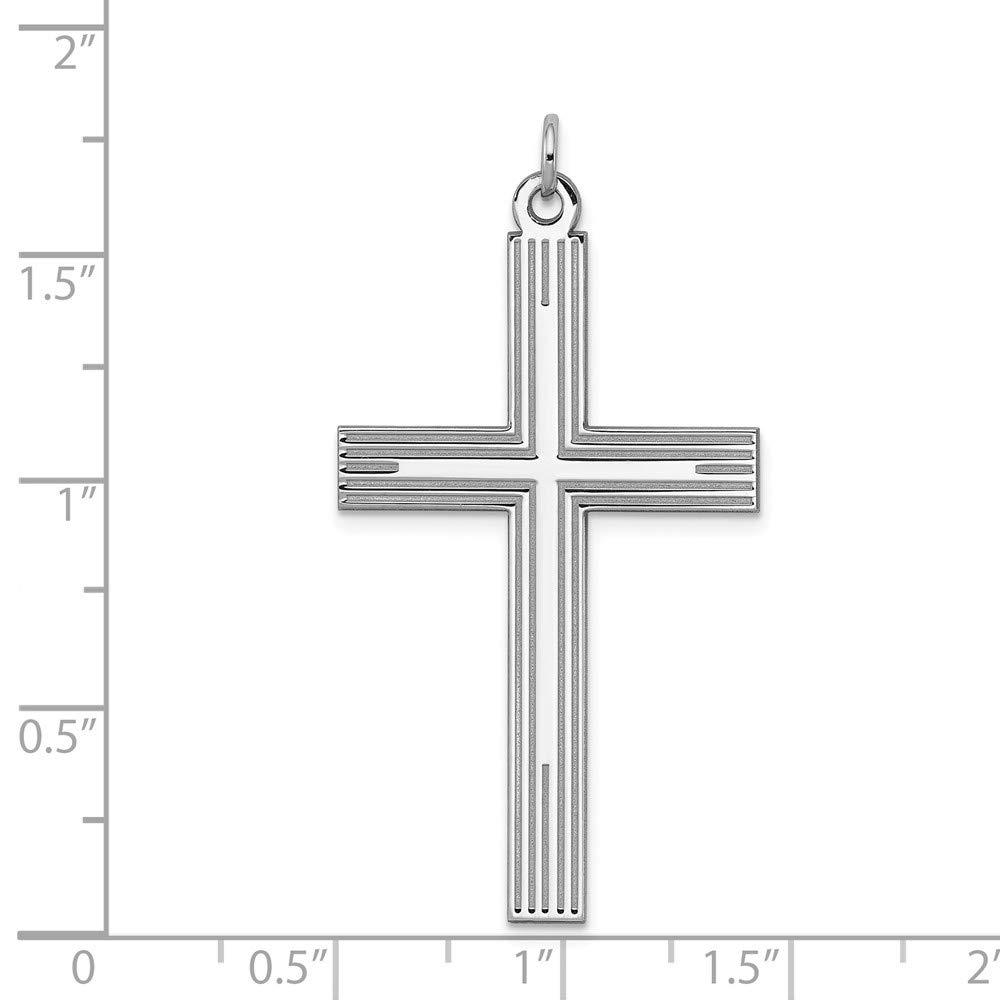 Sterling Silver Engravable Laser Designed Cross Pendant