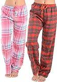 Women Flannel Lounge Pants-2 Pack-Plaid Pajama Pants Cotton Blend Pajama Bottoms(Pink Blue & Red, Medium)