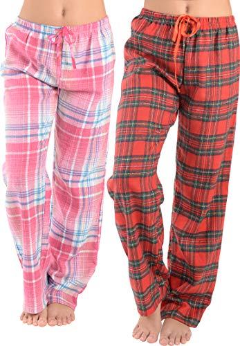 Women Flannel Lounge Pants-2 Pack-Plaid Pajama Pants Cotton Blend Pajama Bottoms(Pink Blue & Red, X-Large)