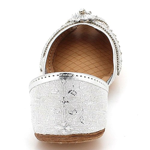 Women Size Slip AARZ Khussa Shoes On Leather Indian Bridal Flat LONDON Silver Pumps Ethnic Ladies Peeptoe Handmade Traditional 5OqgUxOwa
