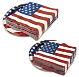 "96 Pcs US Pride Disposable Party Supply | 8.75"", 6.75"" Plates & Napkins For Patriotic Day Celebrations"