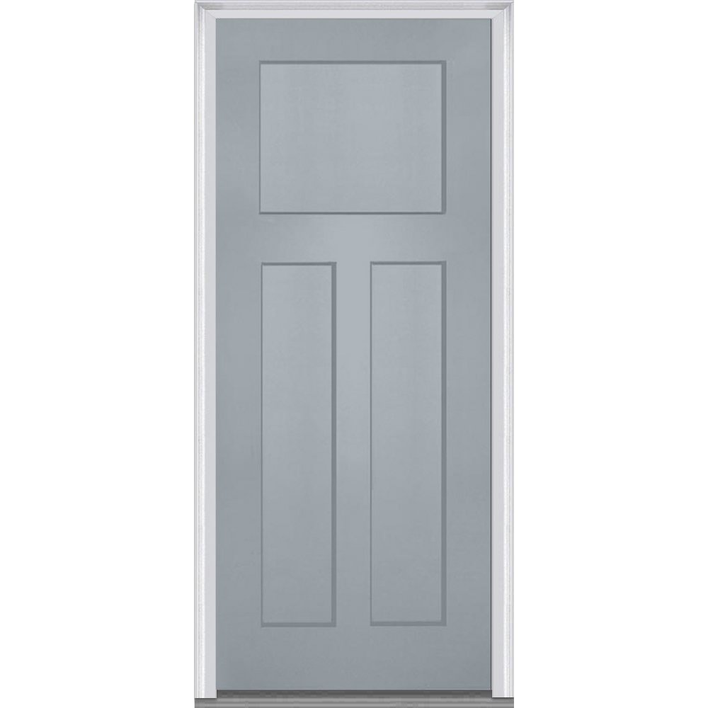 National Door Company Z015526R Fiberglass Smooth Storm Cloud, Right Hand In-swing, Prehung Front Door Craftsman 3-Panel, 32'' x 80''