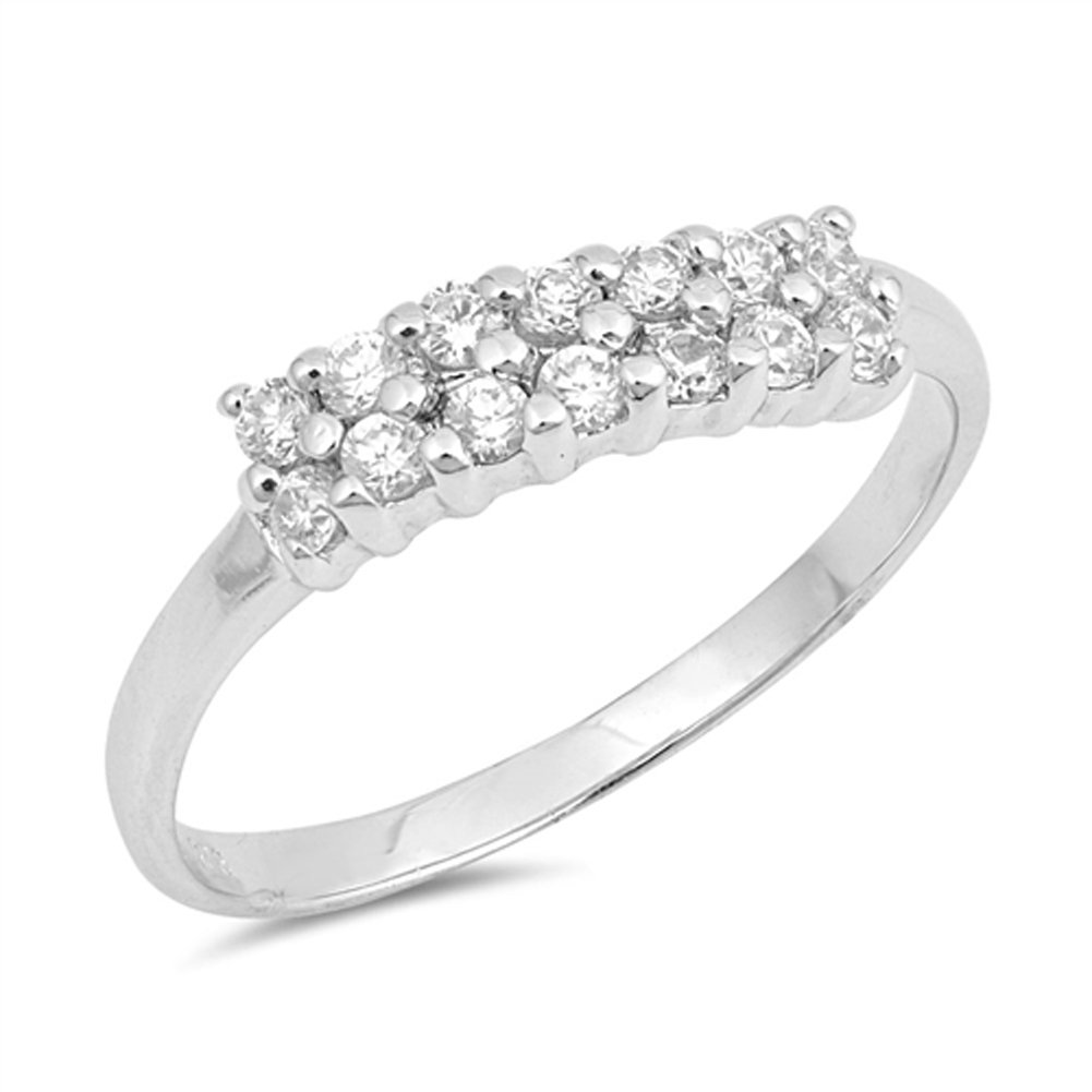 Clear CZ Cluster Bar Line Wedding Ring New .925 Sterling Silver Band Sizes 5-9