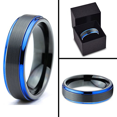 Tungsten Wedding Band Ring 6mm for Men Women Black Blue Center Line Stepped Edge Brushed Lifetime Guarantee