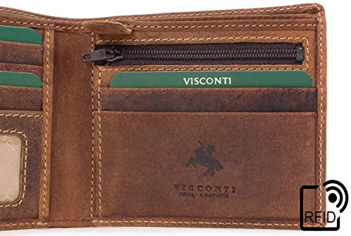 Leather Visconti Shield Tan Wallet Visconti Oil rfid Hunter 707 Wallet rwgawxqPY