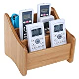 Multiuse Remote Control Holder Table Desk Caddy Storage Organizer with 3 Compartments in Wooden Design for TV Remotes Stereo Media Devices Game Console Phones Pen Scissors Office Supplies - Black