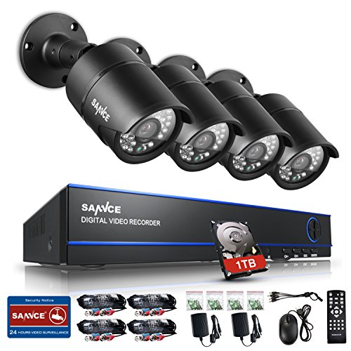 New-1080P-SANNCE-AHD-4CH-1080P-Video-DVR-Recorder-1TB-Hard-Drive-Home-Security-System-with-4HD-19201080-Outdoor-Security-Cameras-IP66-Weatherproof-Metal-Housing
