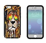 716 - Rasta Lion Weed Cannibas Hair Jamaican Design iphone 6 6S 4.7'' Full Body CASE With Build in Screen Protector Rubber Defender Shockproof Heavy Duty Builders Protective Cover