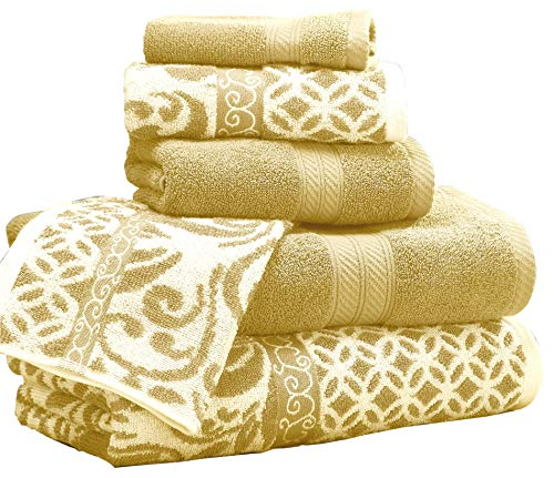 - Amrapur Overseas | Trefoil Filigree 6 Piece Reversible Yarn Dyed Jacquard Towel Set (Gold) (Renewed)