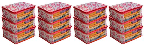 """Kuber Industriesâ""""¢ Non Woven Saree Cover Pink Floral Design Set of 12 Pcs"""