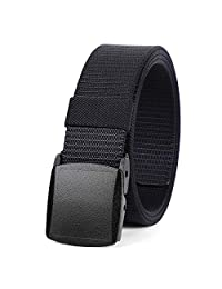 WERFORU Nylon Military Tactical Belt For Men Outdoor Canvas Webbing Belt 1.5 Inches with Plastic Buckle (Black, S for pants size below 40 Inches))