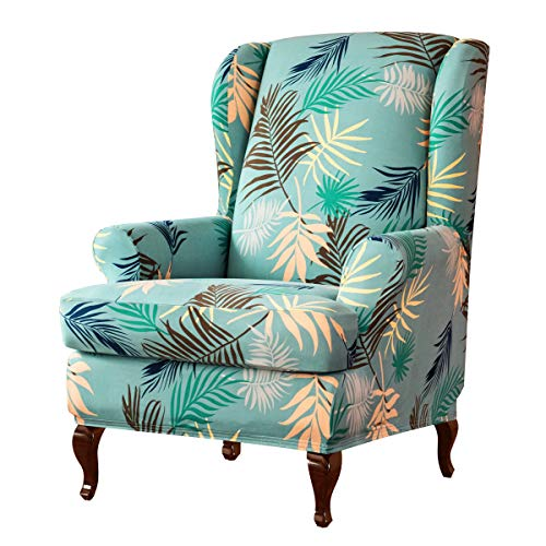 subrtex Wing Chair Slipcovers Stretchy Wingback Armchair Covers Detachable Spandex Sofa Covers Leaves Printed Furniture Protector(Green)