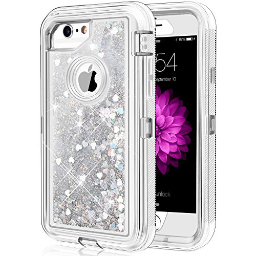 Caka iPhone 6S Plus Case, Protective Flowing Liquid Floating Luxury Bling Glitter Sparkle Heavy Duty Case for iPhone 6 Plus 6S Plus 7 Plus 8 Plus (5.5 inch) (Love Silver)