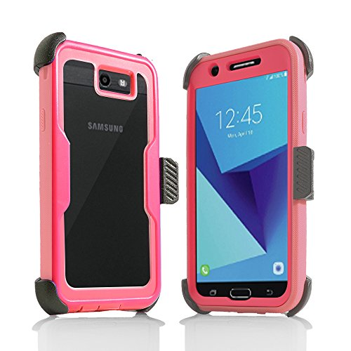 for Samsung Galaxy J7/Sky Pro/J7 Prime/J7V/J727/Perx/Halo Full Body Rugged Holster Explorer Armor Case with Built in Screen Protector (Pink) -