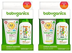 Babyganics Mineral-Based SPF 50+ Sunscreen, 2 Ounce + Natural Insect Repellent, 2 Ounce Outdoor Essentials Duo (Pack of 2)