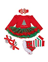 4pcs Newbron Baby Girls Christamas Tutu Dress Headband Baby Shoes Outfit Sets, S