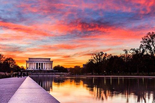 Sunset at the Lincoln Memorial Washington DC Photo Art Print Poster 18x12 (Lincoln Memorial Photo)