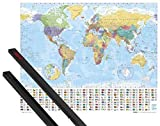 Poster + Hanger: Maps Mini Poster (20x16 inches) Political World Map, Flags Ed. 2005, In English And 1 Set Of Black 1art1 Poster Hangers