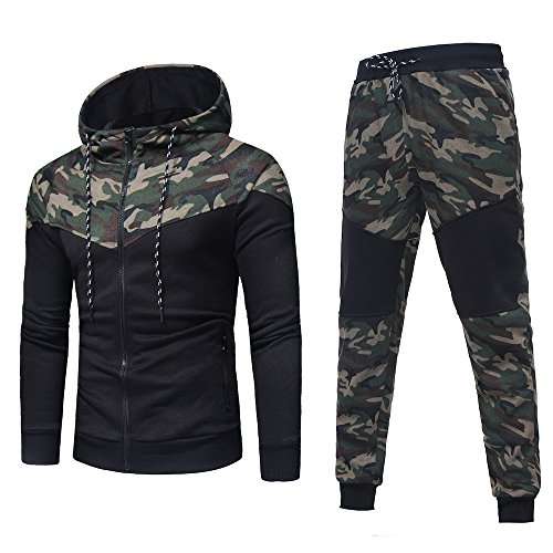Baseball Badger Solid Jerseys (Sunhusing Men's Camouflage Print Long Sleeve Hoodie Sweatshirt + Camouflage Pants Trousers Sport Suit)