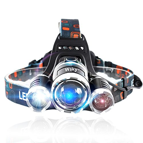 Wsky 6000 LM LED Headlamp Flashlight - Super Bright Headlamp - 3 Light 4 Modes, CREE XM, L 3T6 Lampwick, Best for Camping Biking Hunting Fishing Outdoor