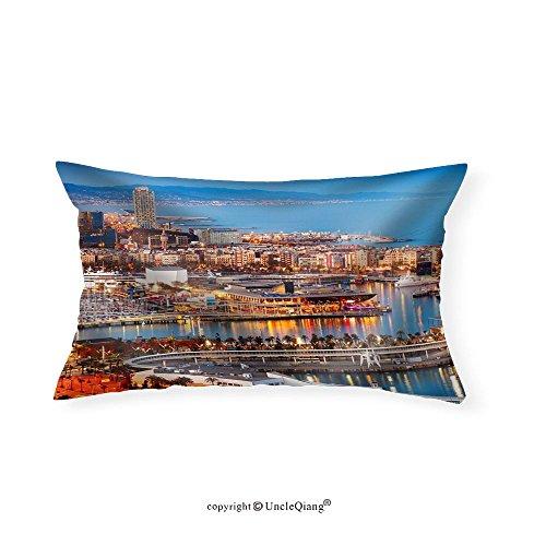 VROSELV Custom pillowcasesBarcelona City and Port in Evening. Catalonia Spain - Fabric Home Decor(20''x30'') by VROSELV