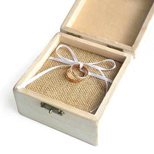 Custom Vintage Wedding Ring Box Shabby Chic Wood Rustic Wedding Rings Bearer Box by weddinghanger2015 (Image #1)