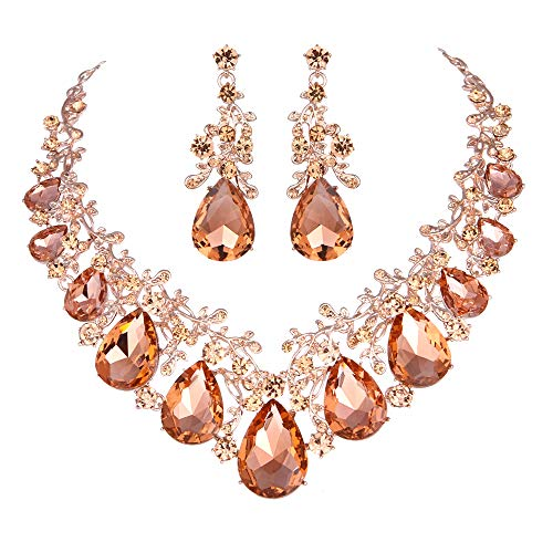 Youfir Austrian Crystal Leaf Statement Wedding Necklace and Earrings Jewelry Sets for Women Formal Dress(Peach-Rose Gold Tone)