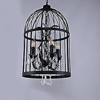 DZW hierro industrial viento pájaro de la jaula de cristal lámpara ...