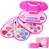 Princess Girl's All-In-One Deluxe Makeup Palette for Pretend Play Daily Use Washable with Mirror