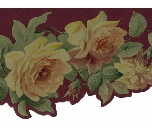 Pink Yellow Roses on Vine Red Floral Wallpaper Border Retro Design, Roll 15' x 4.75''