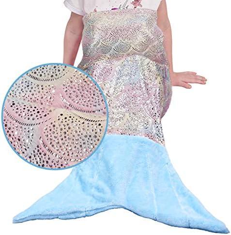 softan - Manta de cola de sirena para niños, con estrellas brillantes coloridas, suave felpa de franela, ideal como regalo