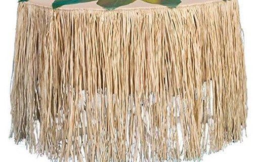 Raffia Table Skirt - LUAU Party Grass Table Skirt 9 feet x 29 inches ()