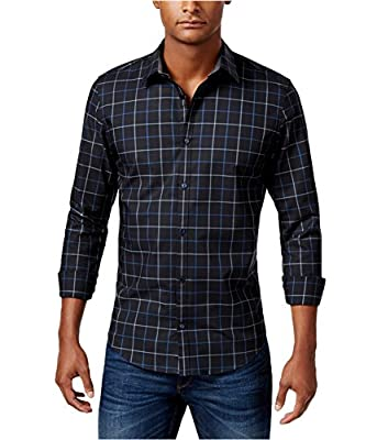 Calvin Klein Mens Herringbone Check Slim-Fit Button up Shirt