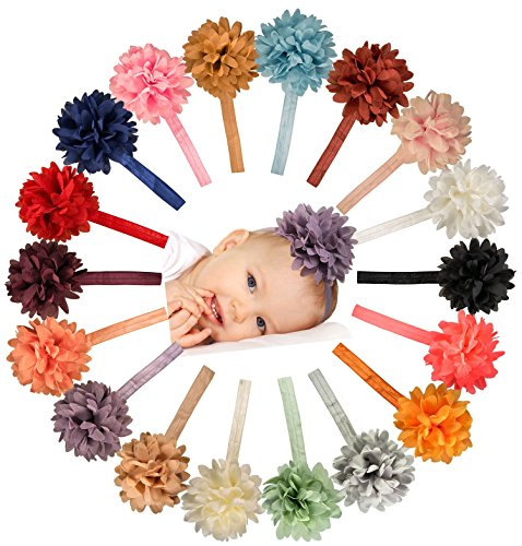 Chiffon Petal Flower Baby Headband Set  18 Pack by ZELDA MATILDA  LARGE